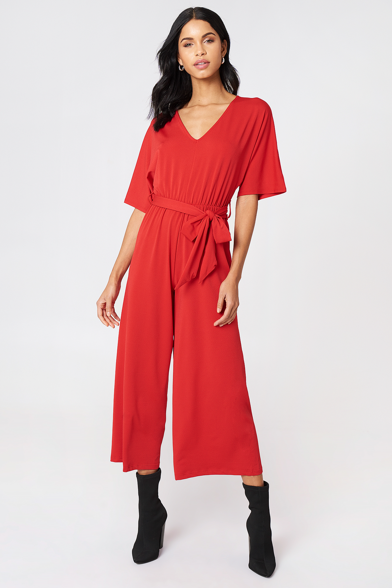 V-Neck Wide Sleeve Jumpsuit NA-KD.COM