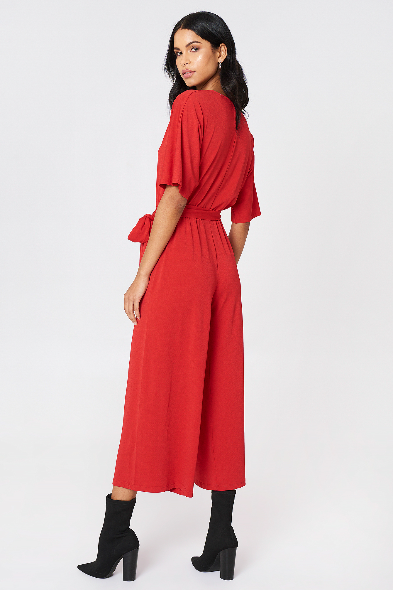Red V-Neck Wide Sleeve Jumpsuit
