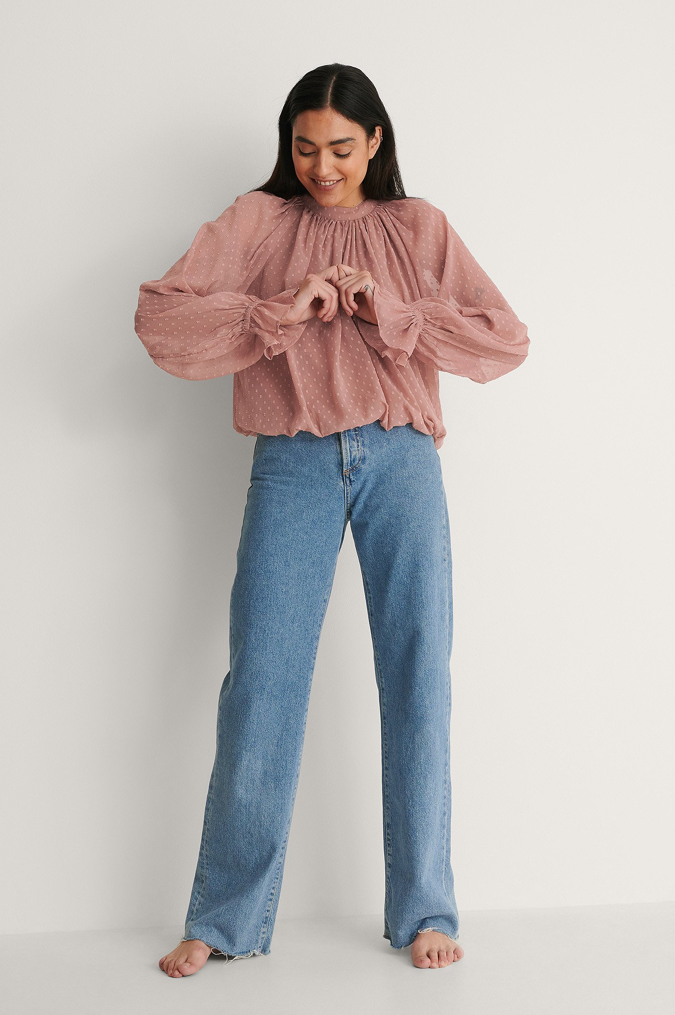 Dusty Pink Volume Dobby Blouse