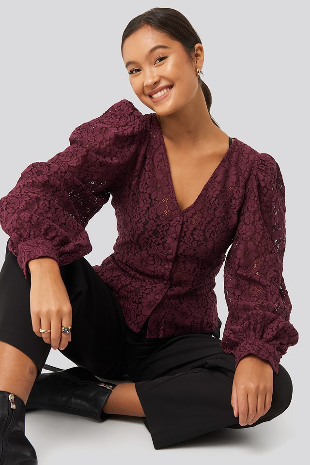 Volume Puffy Sleeve Lace Blouse Burgundy