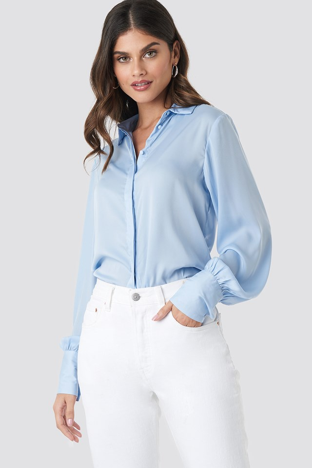 Volume Sleeve Blouse Light Blue