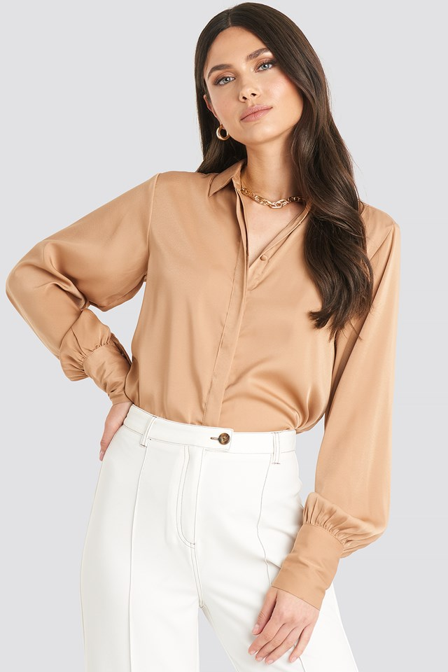 Volume Sleeve Blouse Beige
