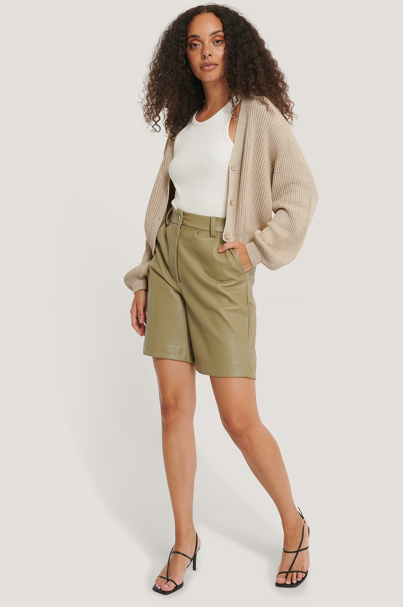 Beige Organic Volume Sleeve Buttoned Cardigan