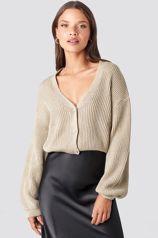 Volume Sleeve Cardigan Light Beige