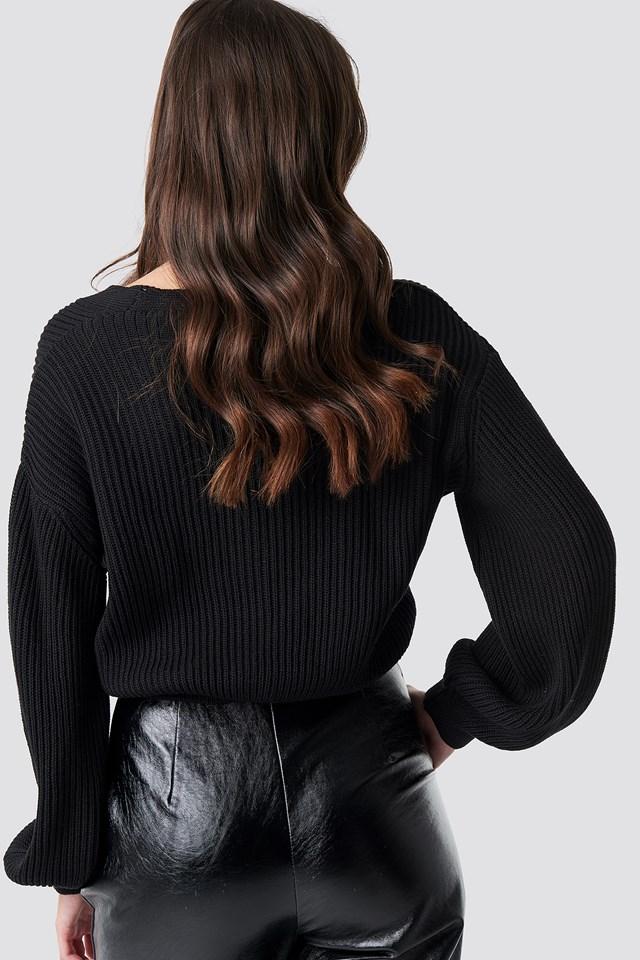 Volume Sleeve Cardigan Black