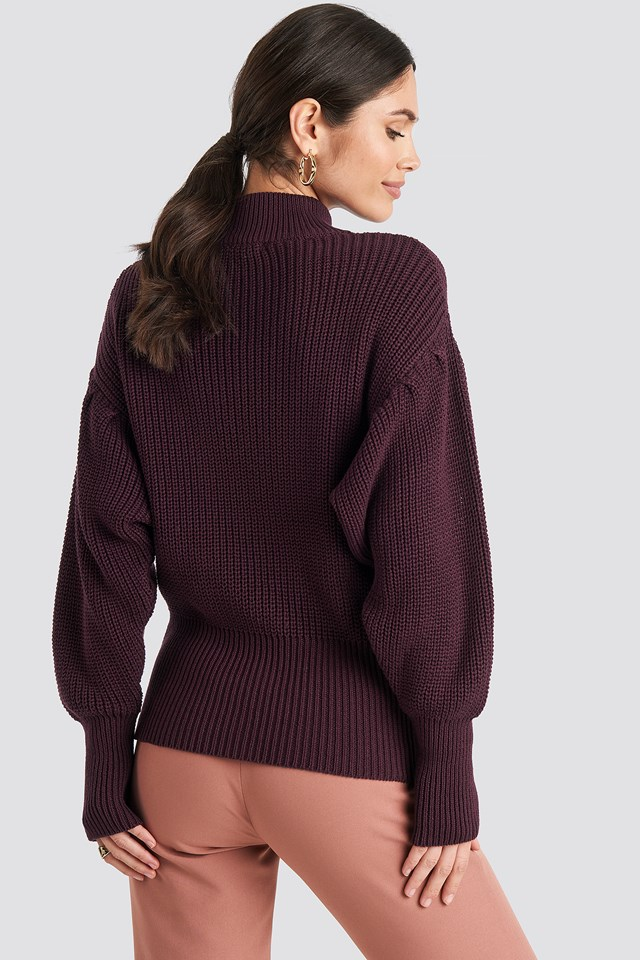 Volume Sleeve High Neck Knitted Sweater Bordeaux
