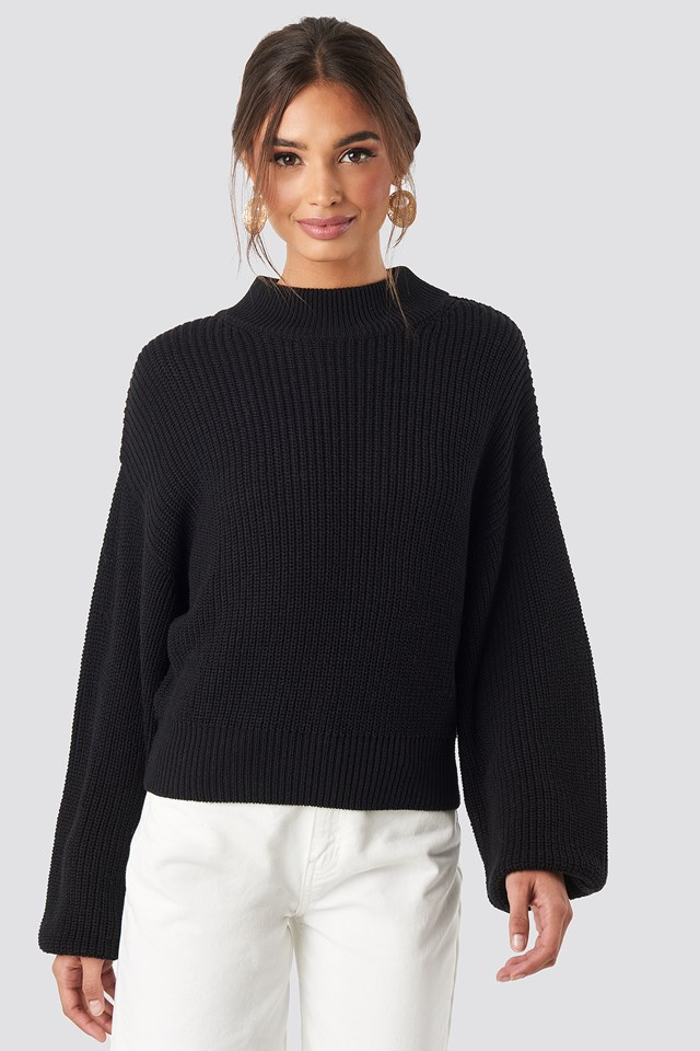 Volume Sleeve High Neck Knitted Sweater Black