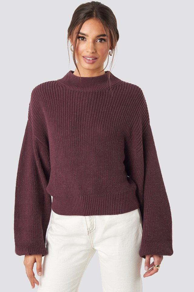 Volume Sleeve High Neck Knitted Sweater NA-KD