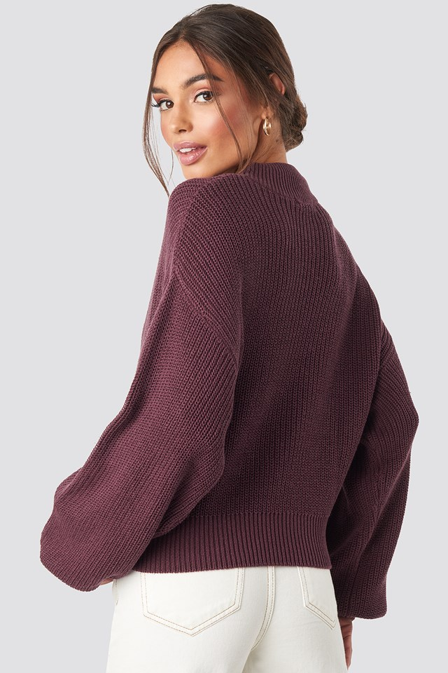 Volume Sleeve High Neck Knitted Sweater Burgundy