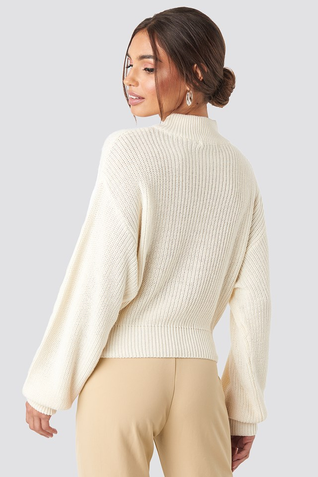 Volume Sleeve High Neck Knitted Sweater Offwhite