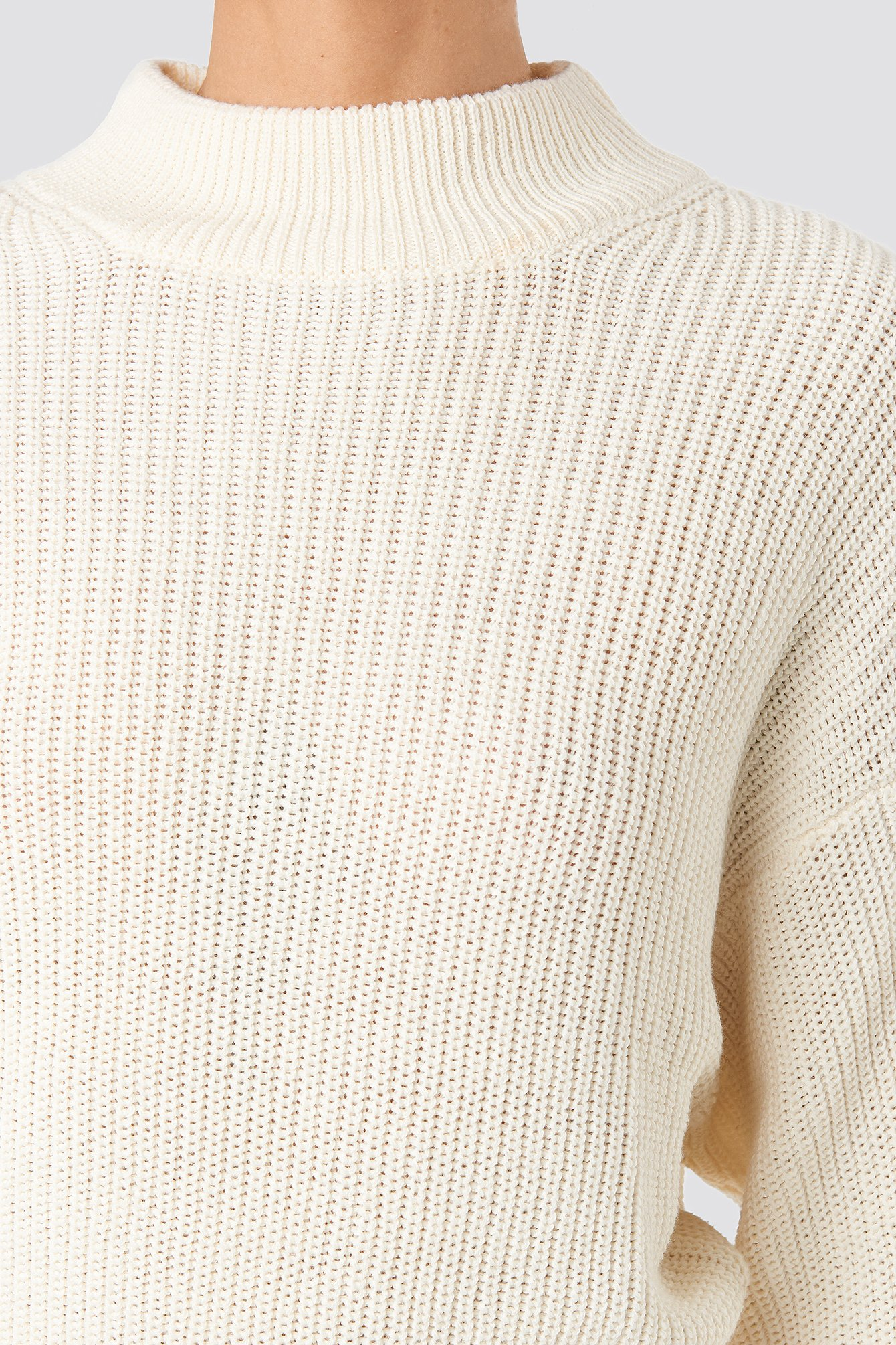 Offwhite Volume Sleeve High Neck Knitted Sweater