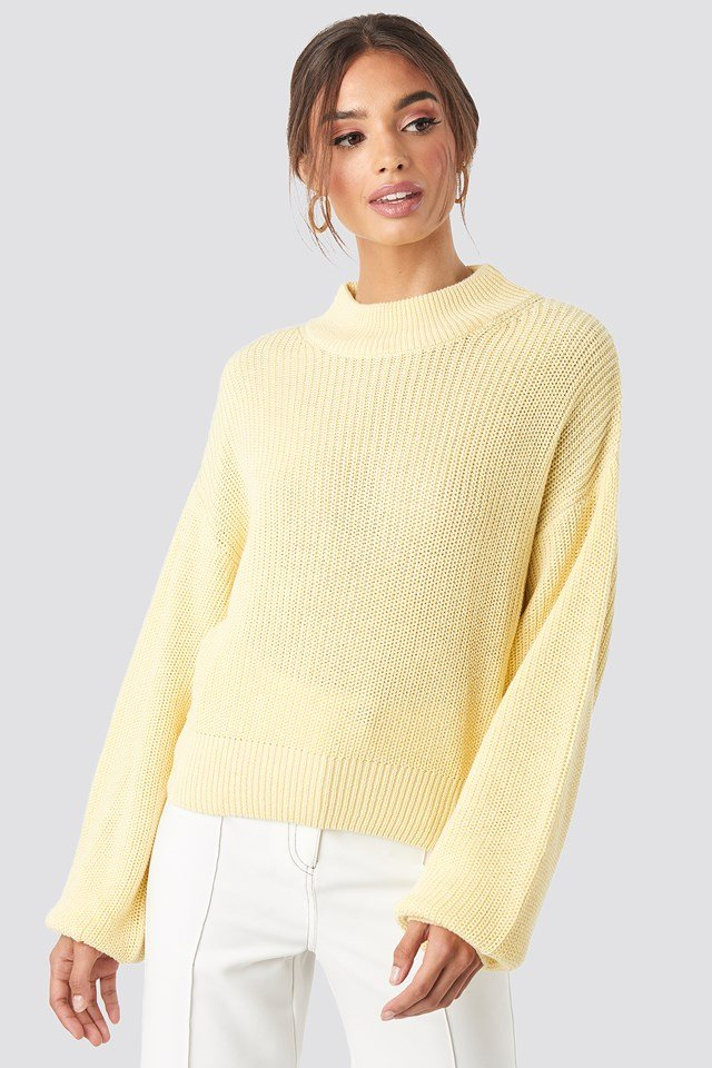 Volume Sleeve High Neck Knitted Sweater Light Yellow