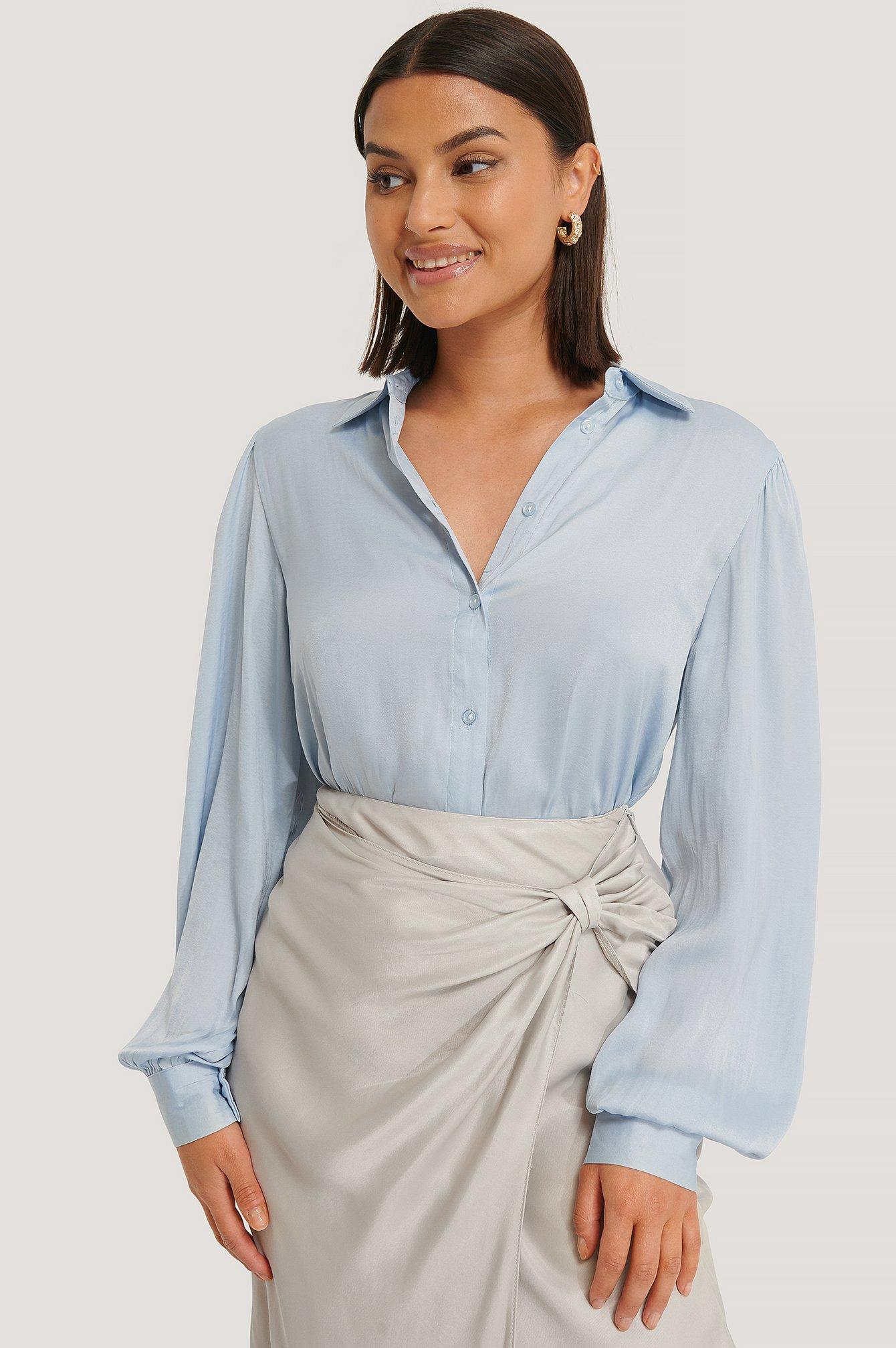 na-kd trend -  Volume Sleeve Shirt - Blue