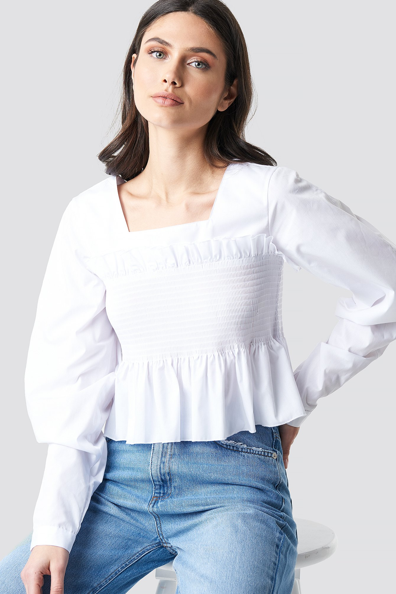 Volume Sleeve Smock Waist Top NA-KD.COM