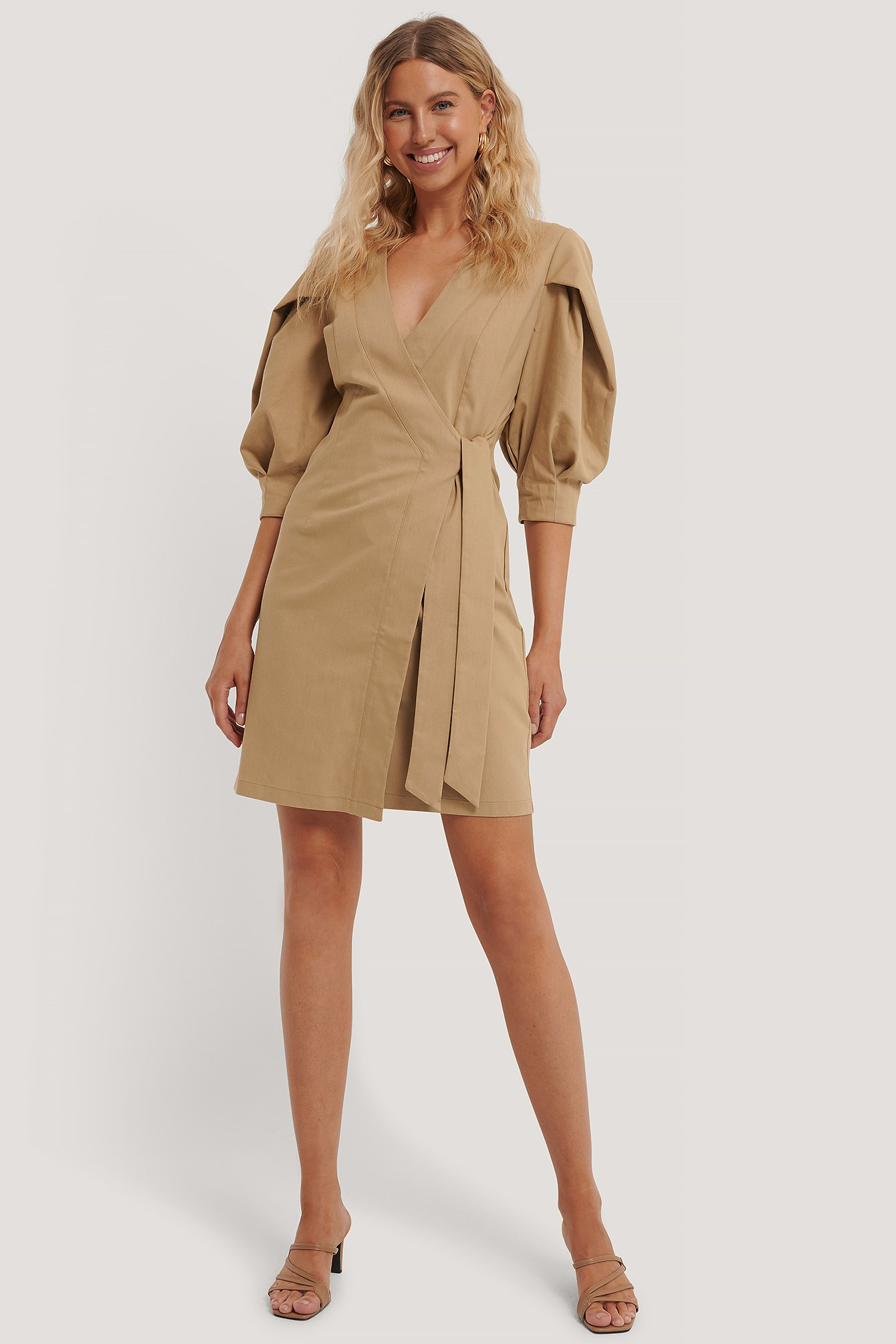 Beige Volume Sleeve Tie Belt Dress