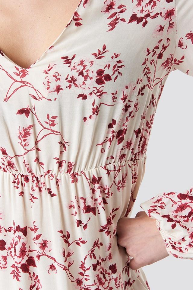 Volume Sleeve Tiered Midi Dress Red Flower