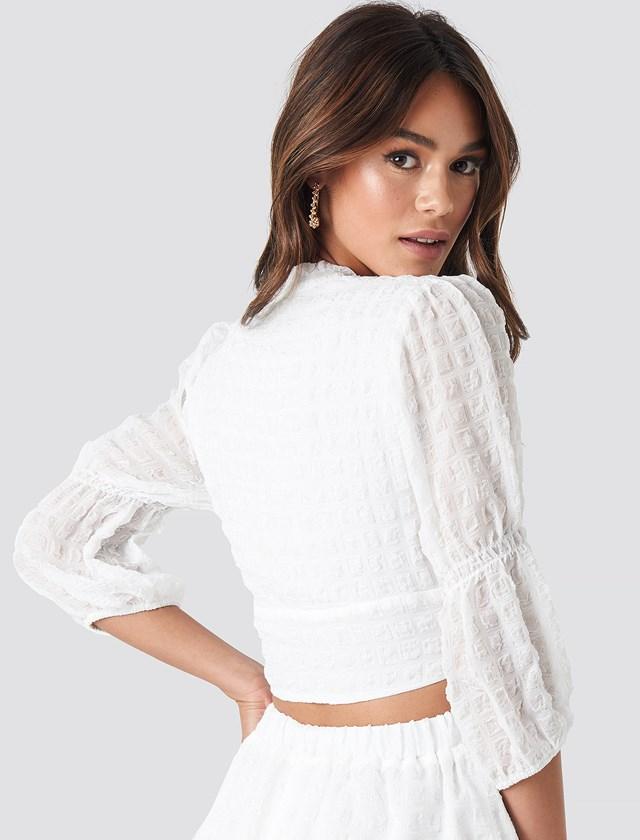 V-Shape Flowy Puff Sleeve Blouse White