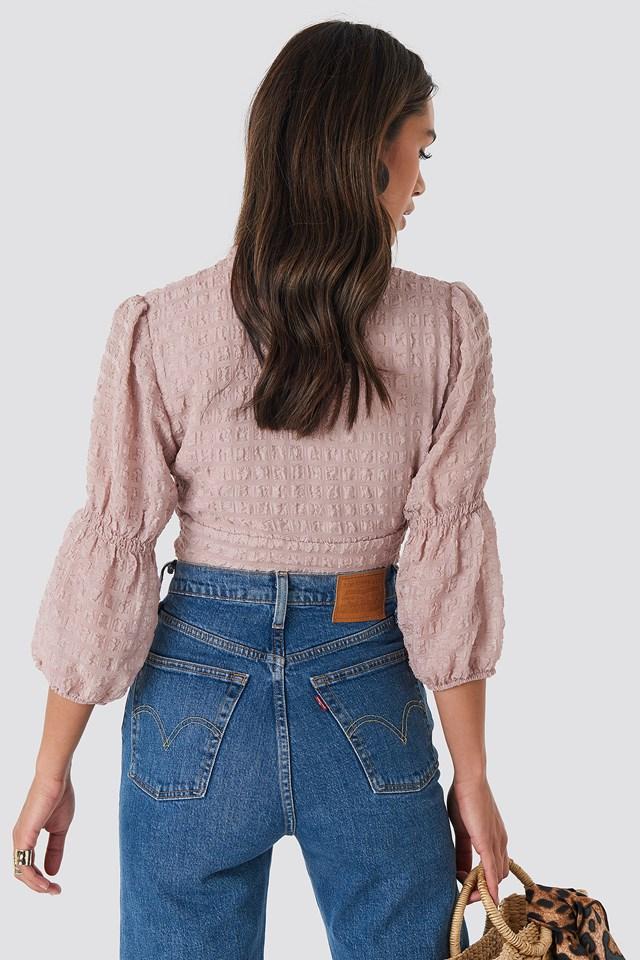 V-Shape Flowy Puff Sleeve Blouse Dusty Pink
