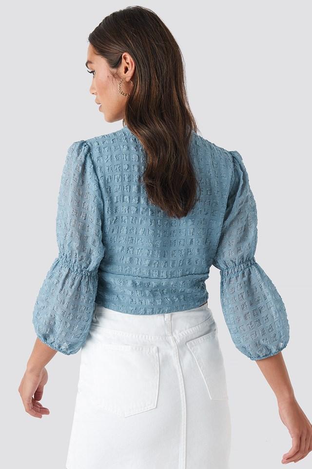 V-Shape Flowy Puff Sleeve Blouse Dusty Blue