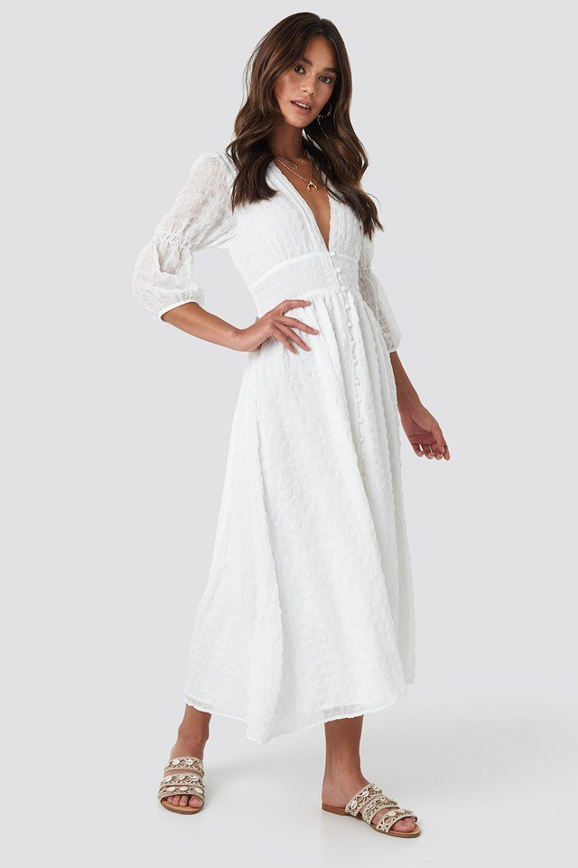 V-Shape Flowy Puff Sleeve Dress White