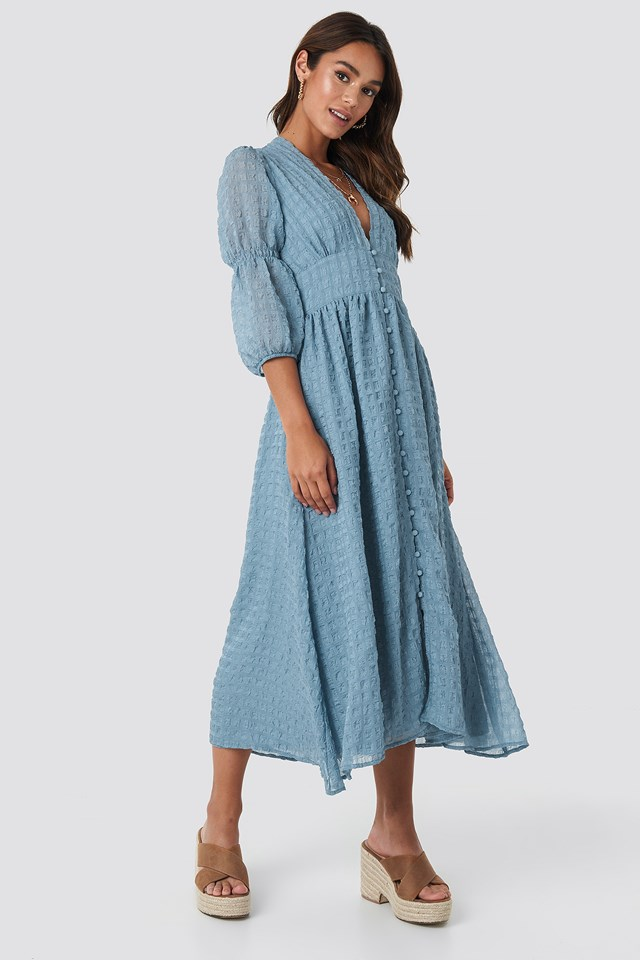 V-Shape Flowy Puff Sleeve Dress Dusty Blue