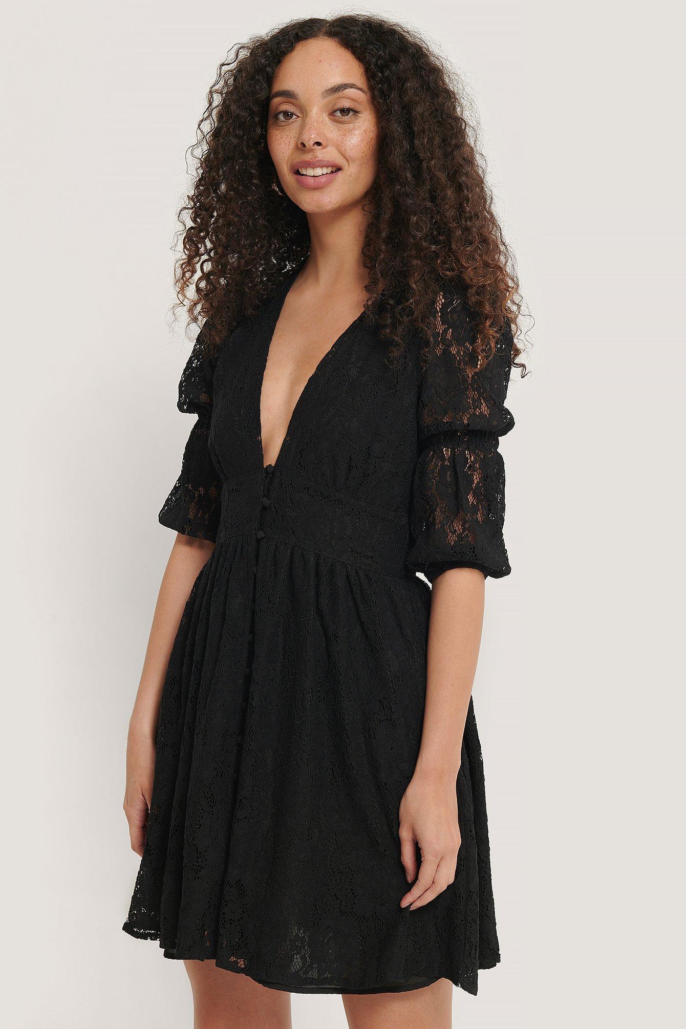 NA-KD Boho V-shape Flowy Puff Sleeve Lace Dress - Black