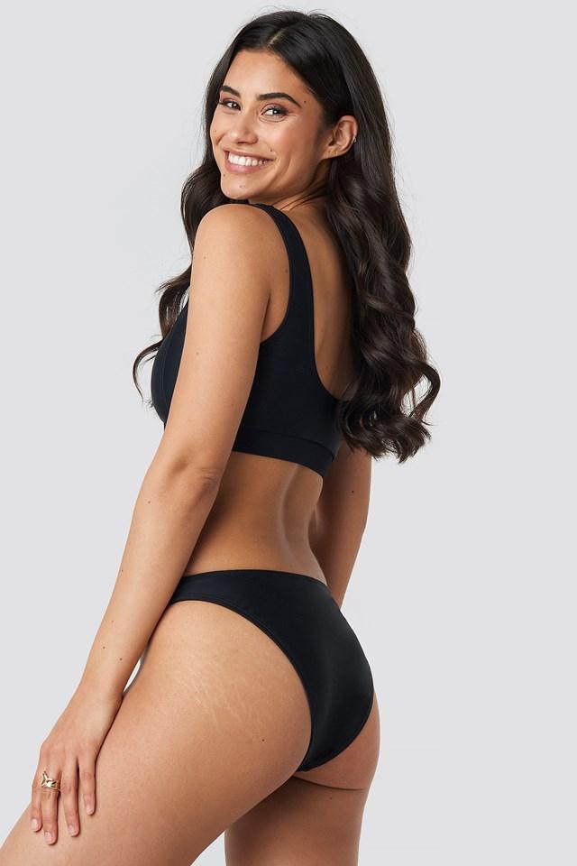 V Shape Front Bikini Bottom Black
