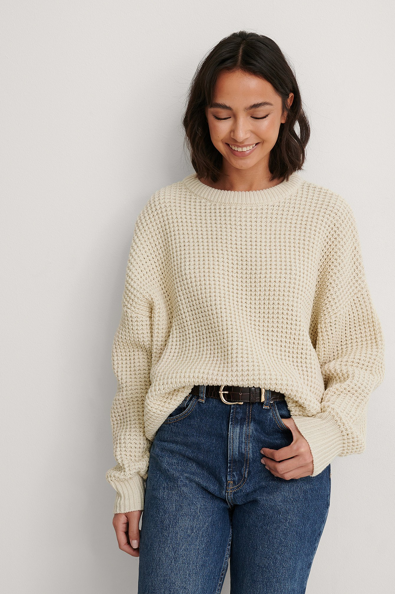Light Beige Waffle Knit Round Neck Sweater