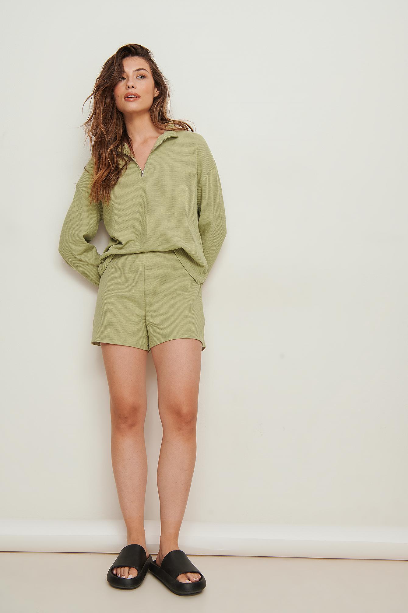 na-kd -  Organisch Mini-Shorts Mit Waffelmuster - Green