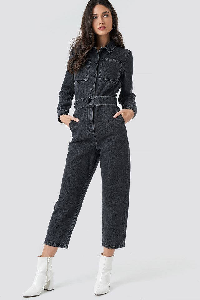 Waist Belt Denim Jumpsuit Black