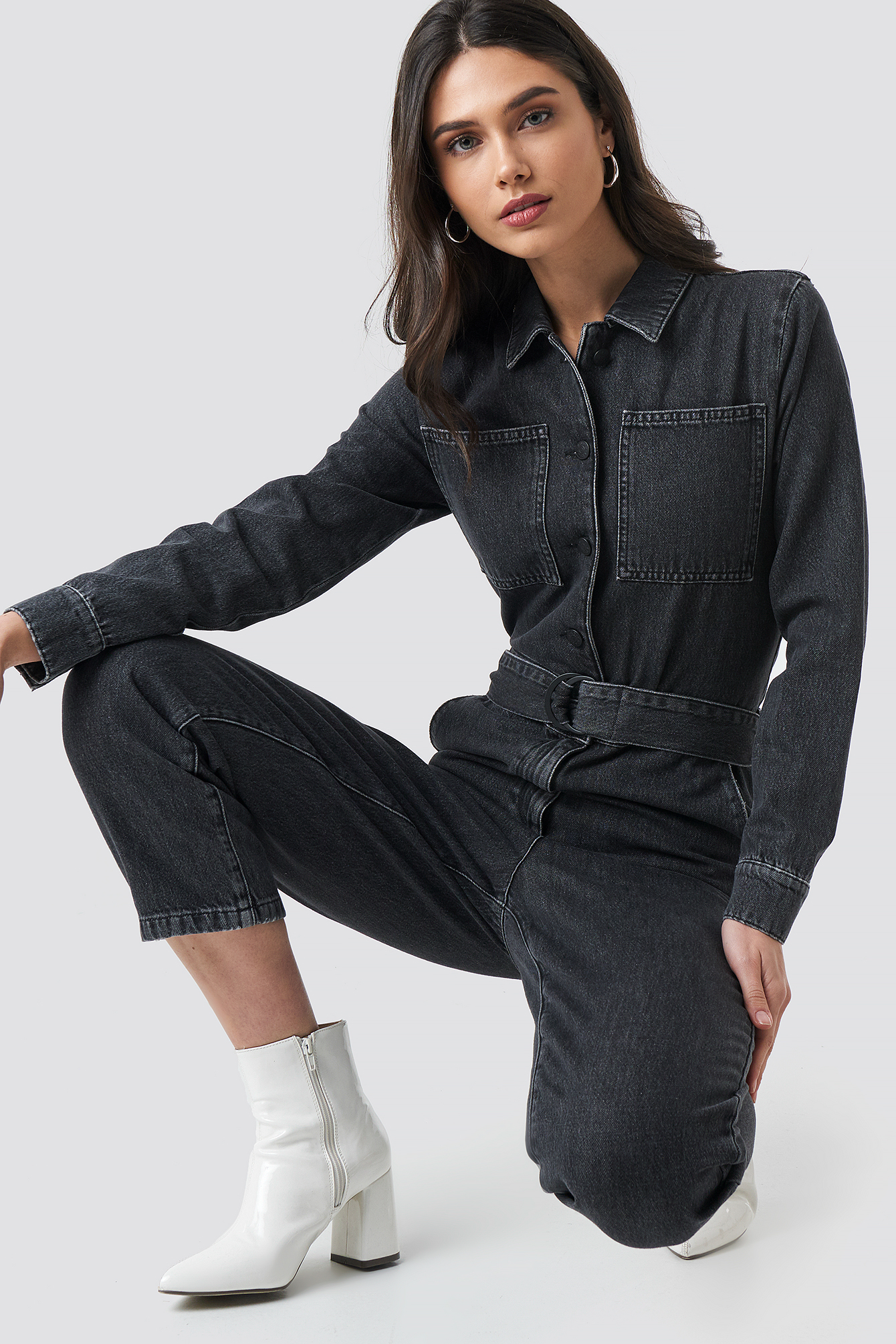 Waist Belt Denim Jumpsuit NA-KD.COM