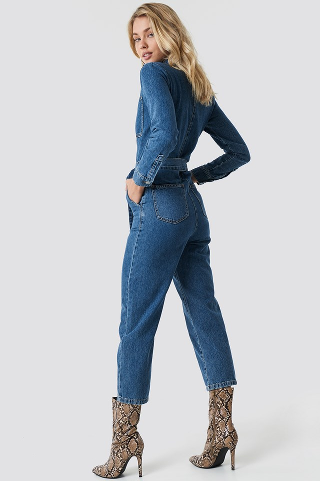 Waist Belt Denim Jumpsuit Blue