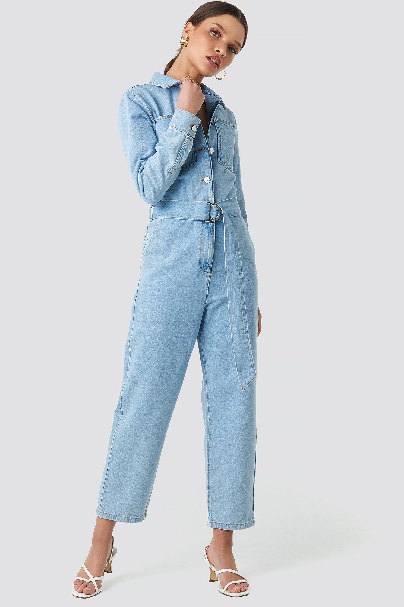 Light Blue Wash Farkku-Jumpsuit Vyöllä