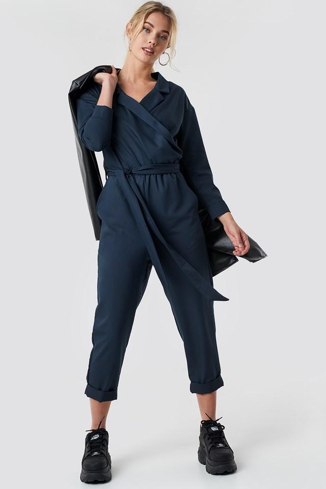 Waist Belted Lapel Jumpsuit Blue