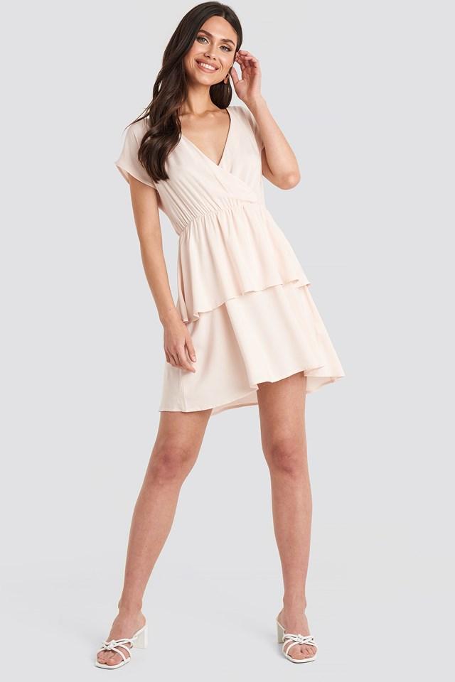Waist Detail Mini Dress Light Beige