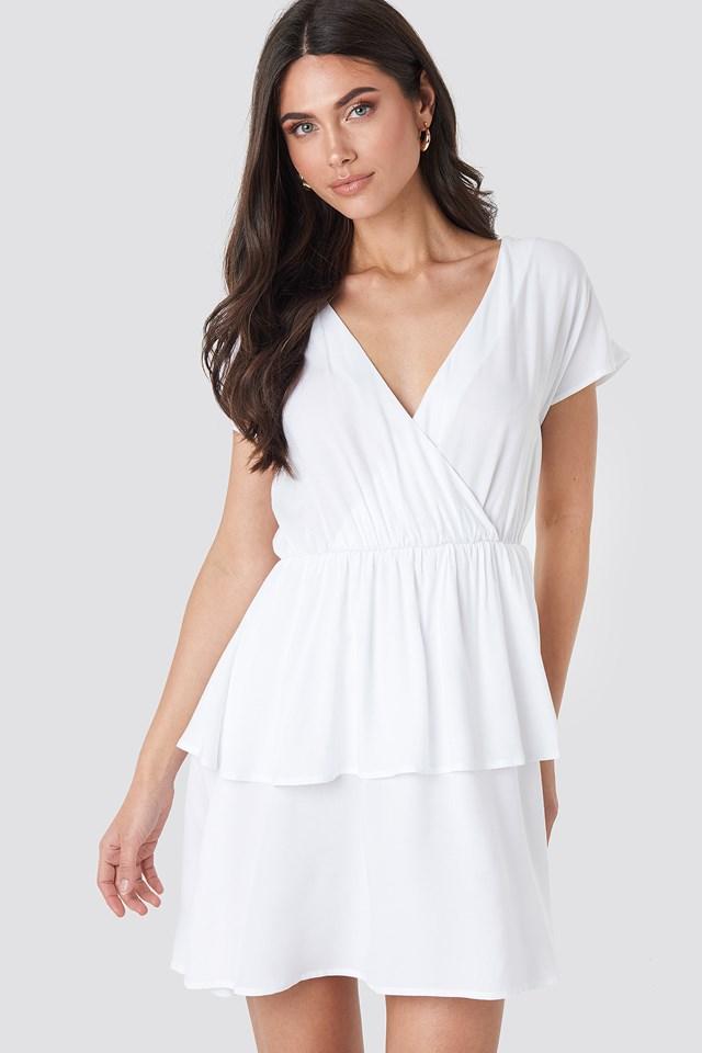 Waist Detail Mini Dress Optical White