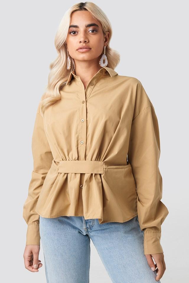 Waist Detail Oversized Shirt NA-KD Trend