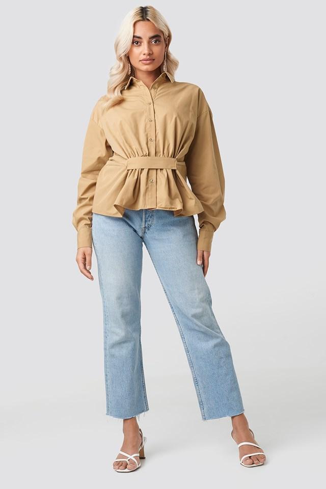 Waist Detail Oversized Shirt Beige