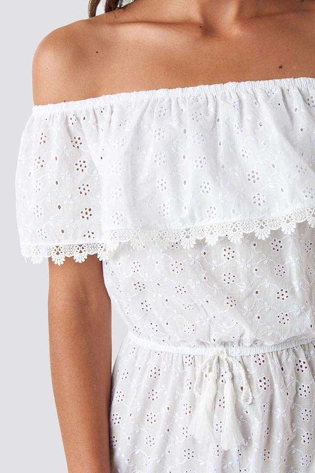 Waist Fringed Playsuit White