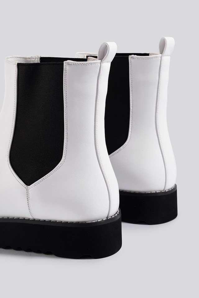 Warm Lined Chelsea Boots White
