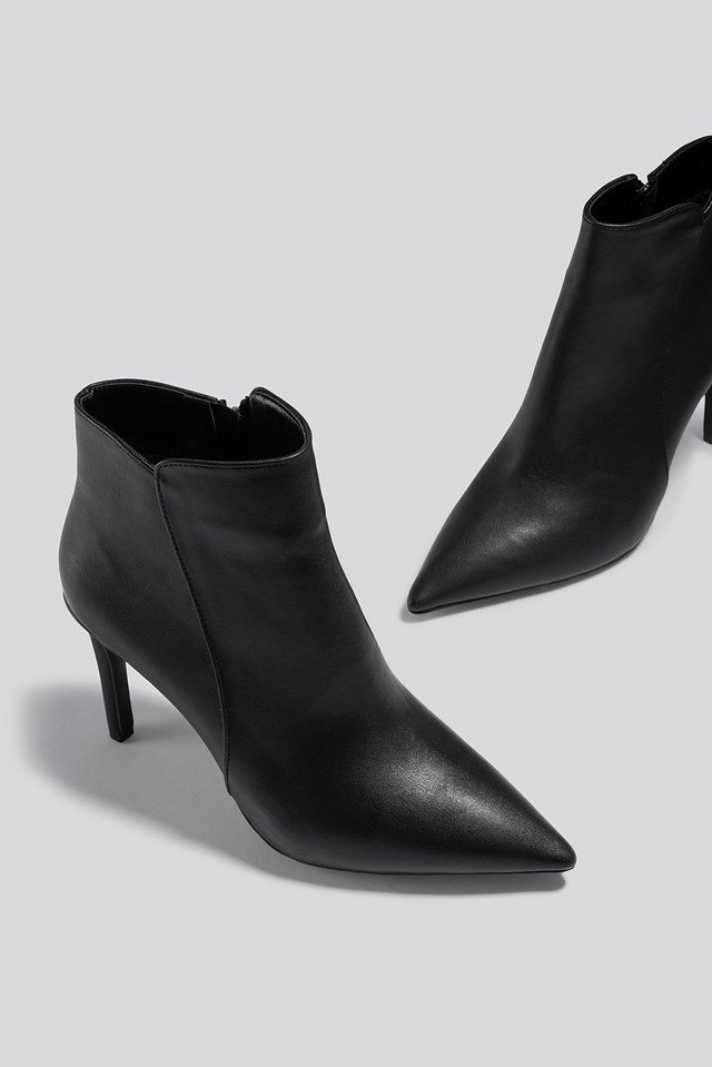 Warm Lined Stiletto Boots Black
