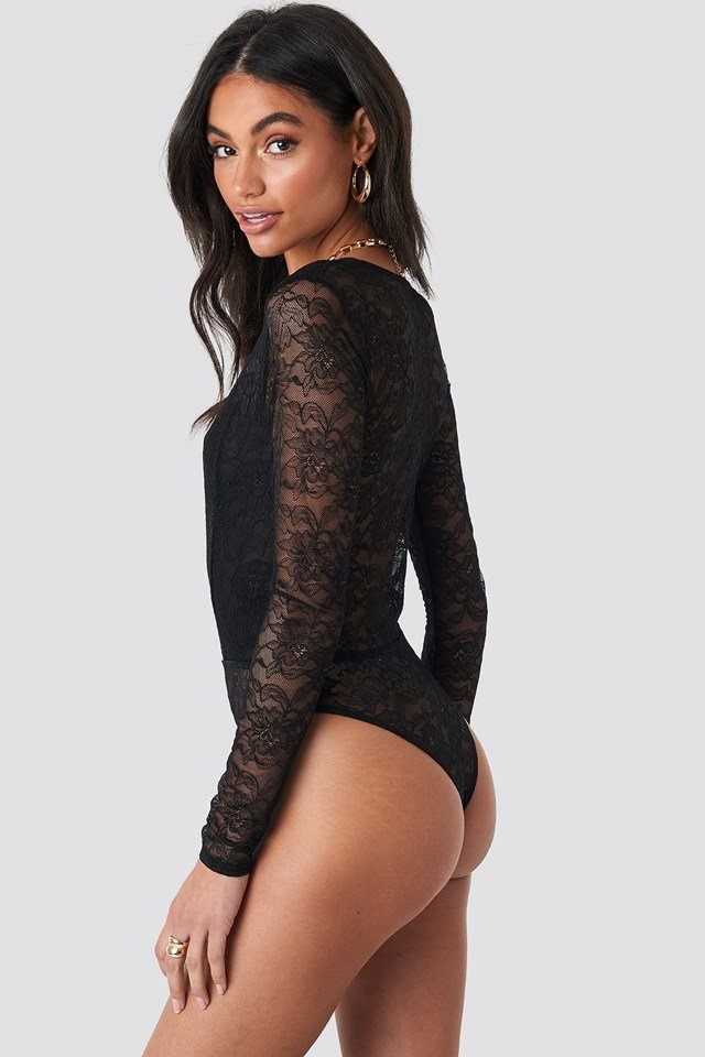 Wrap Front LS Lace Bodysuit Black