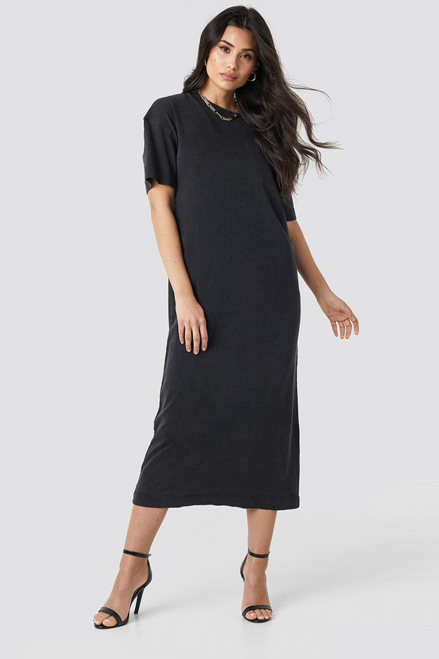 Washed Out Oversize Dress Black