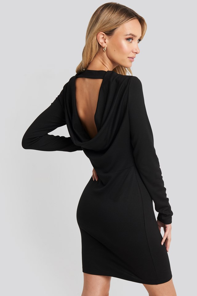 Waterfall Back Mini Dress Black