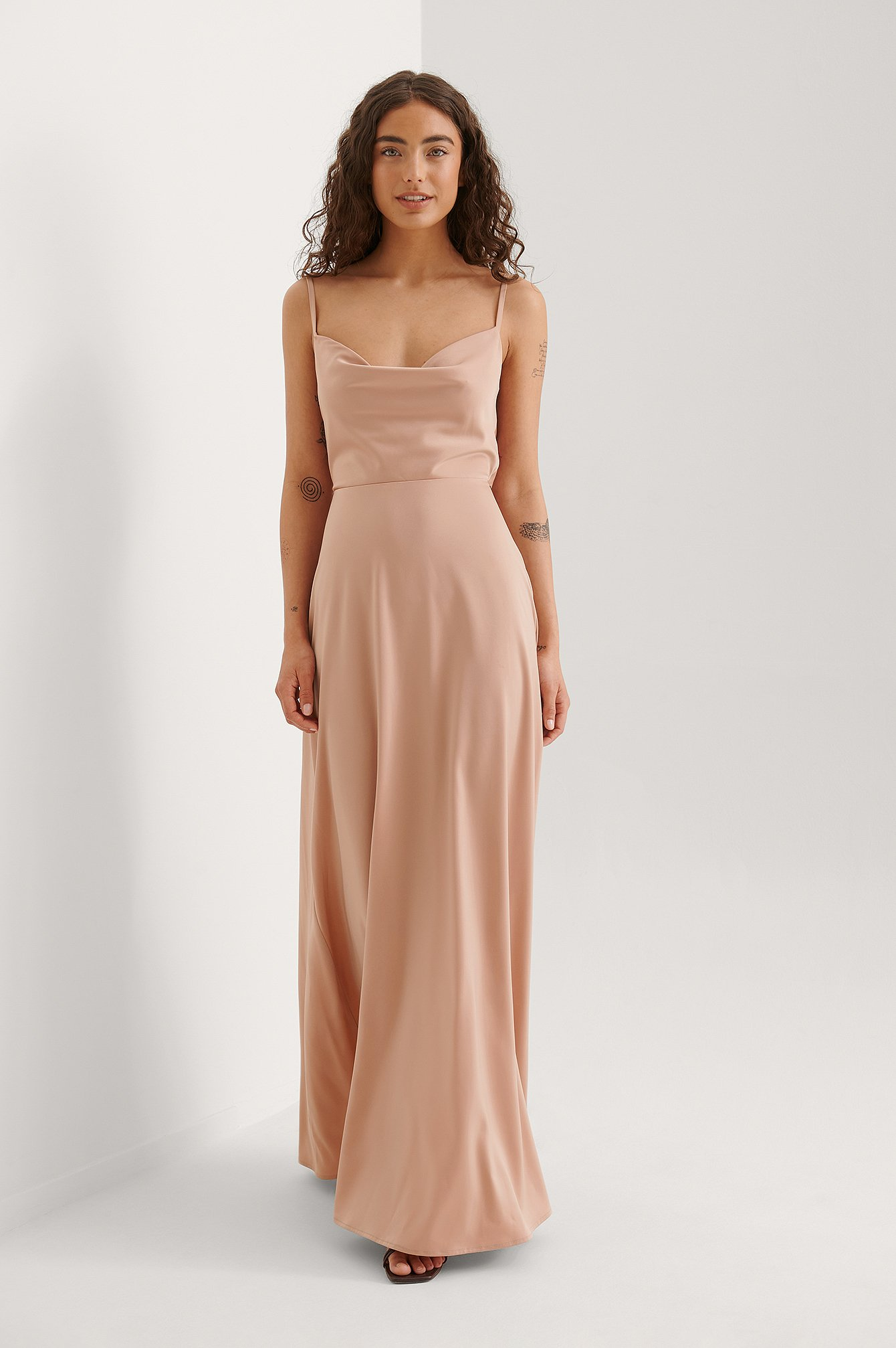 Dusty Pink Waterfall Bow Maxi Dress