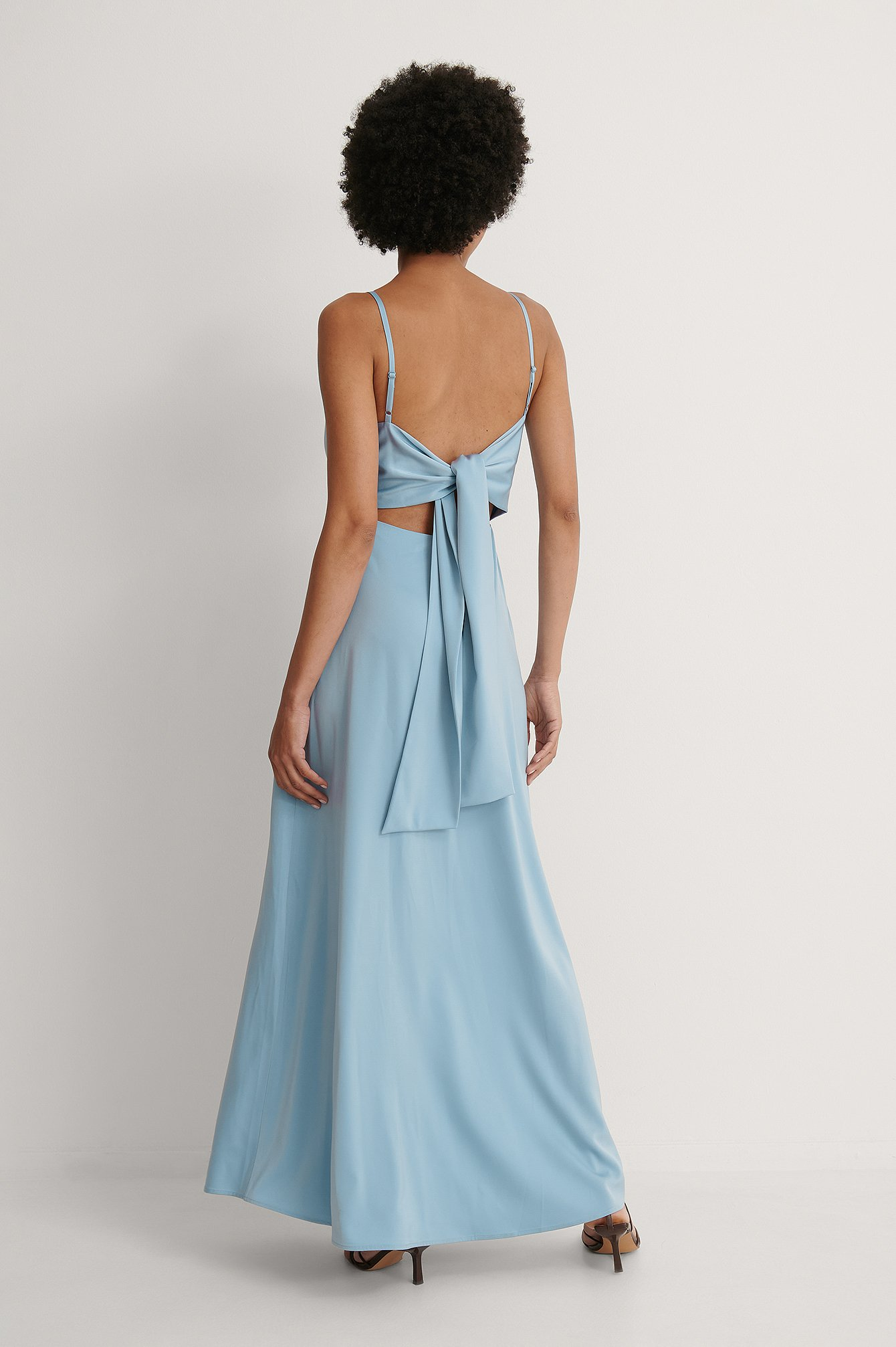 Dusty Blue Waterfall Bow Maxi Dress