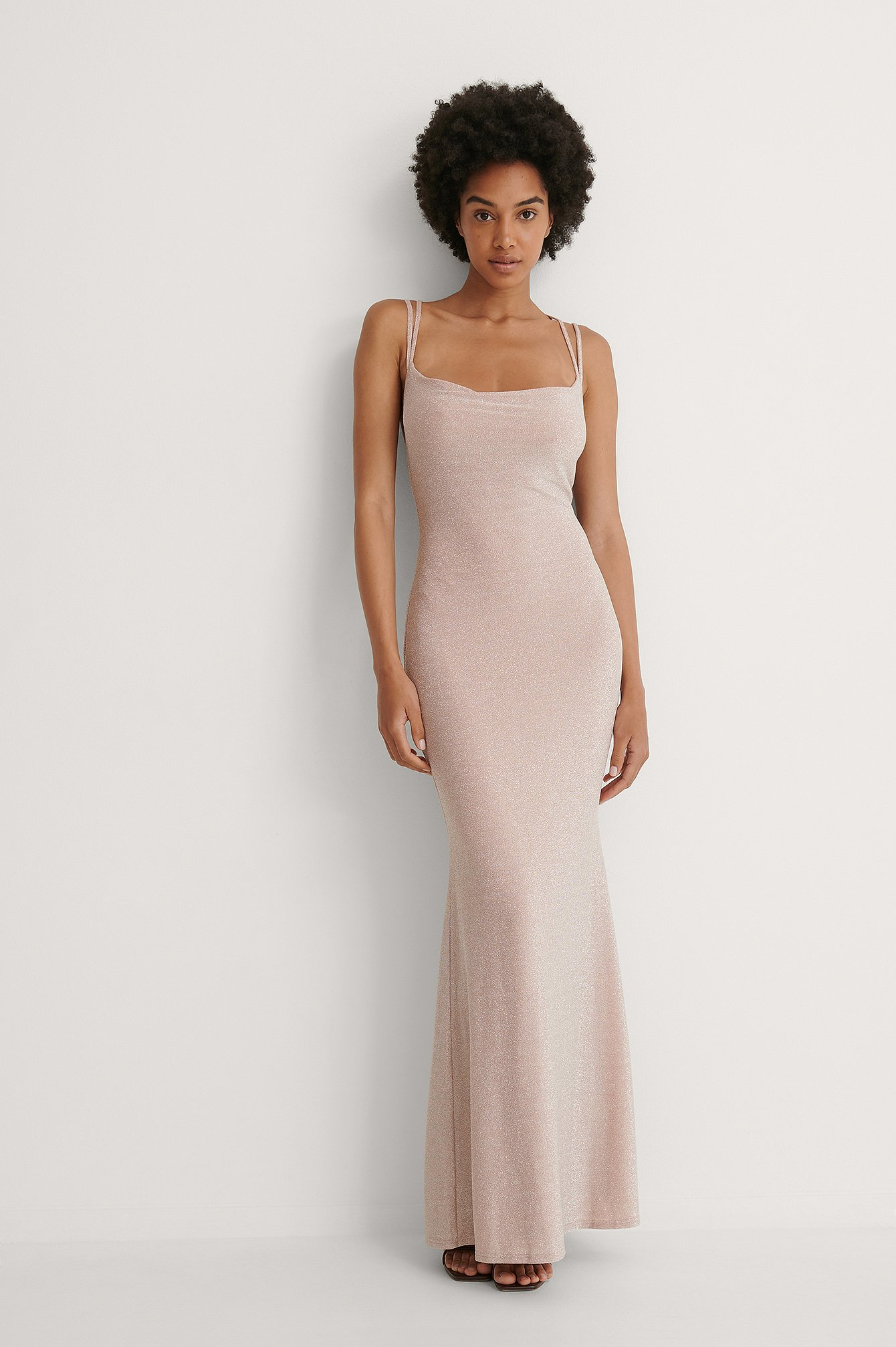 Dusty Pink Waterfall Slit Back Maxi Dress