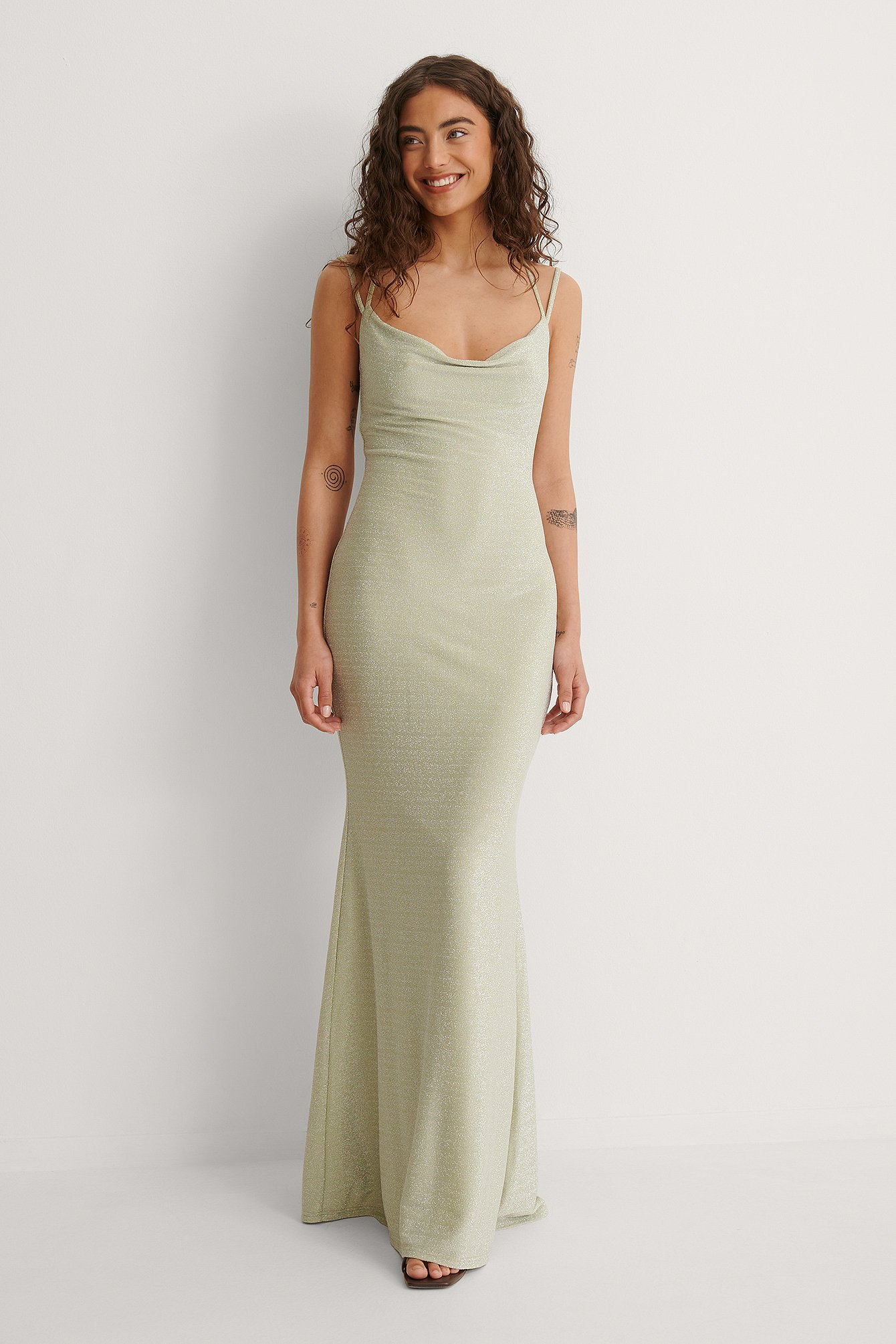 Dusty Green Waterfall Slit Back Maxi Dress