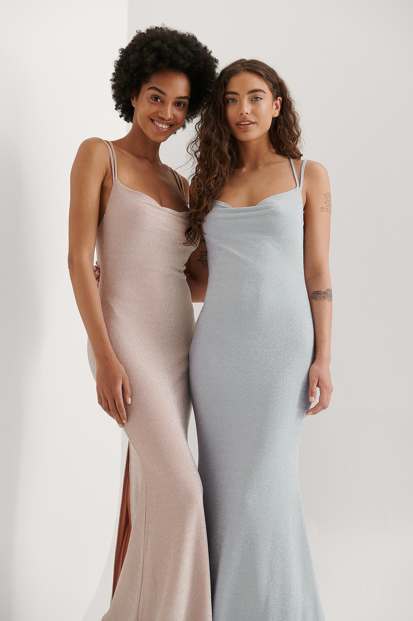 Dusty Blue Waterfall Slit Back Maxi Dress