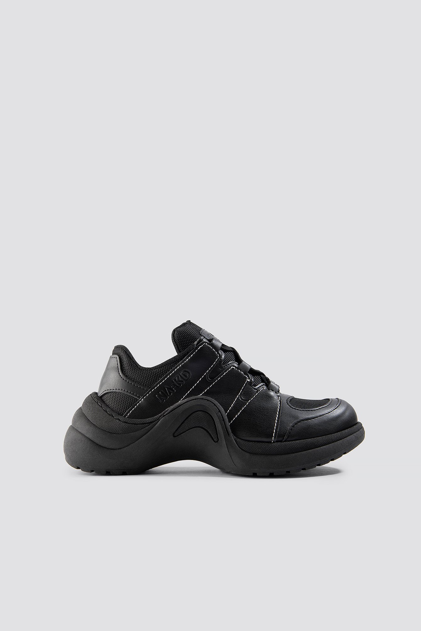 na-kd shoes -  Wave Sole Trainers - Black